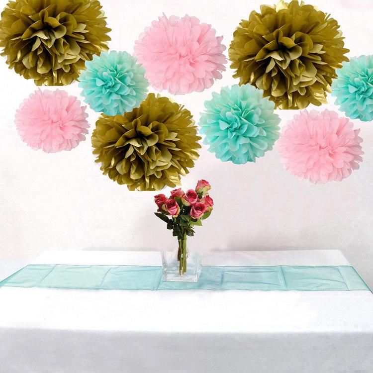 9pcs Mixed Mint Pink Gold Diy Tissue Paper Flower Pom Poms Wedding