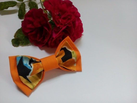 Wedding - floral bow tie orange bowtie hawaiian tie wedding necktie mens gift boyfriend father son bright bow ties womens bowties fleurs d'orange ПЮ8