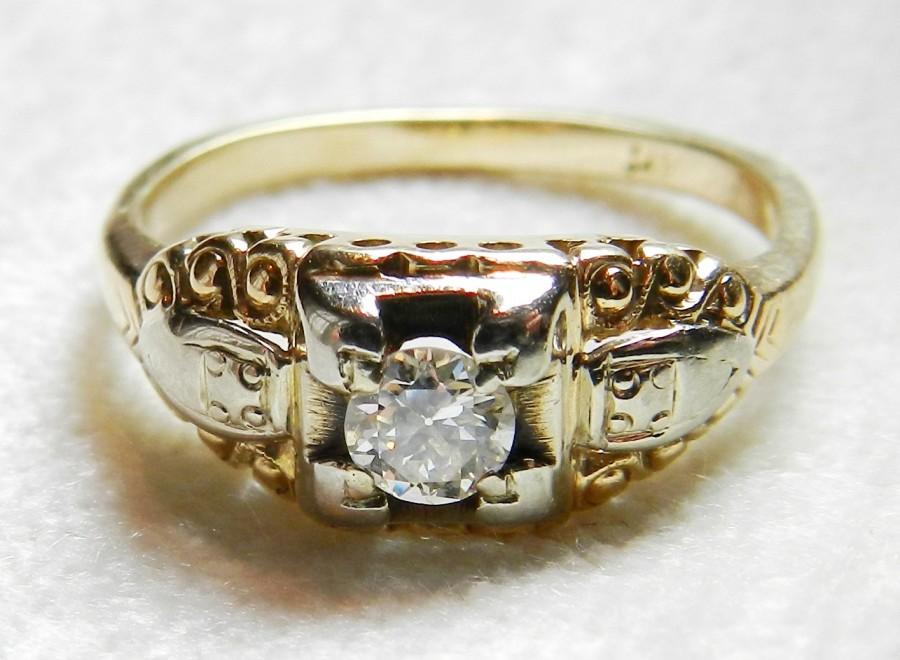 f8436d9d19832 Art Deco Engagement Ring Vintage Engagement Ring 0.30ct Old European ...