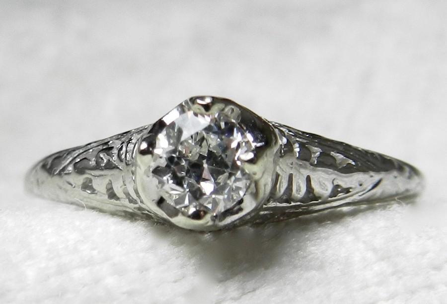 Mariage - Engagement Ring Art Deco Style 0.28 Carat Old European Cut Diamond 14k White Gold