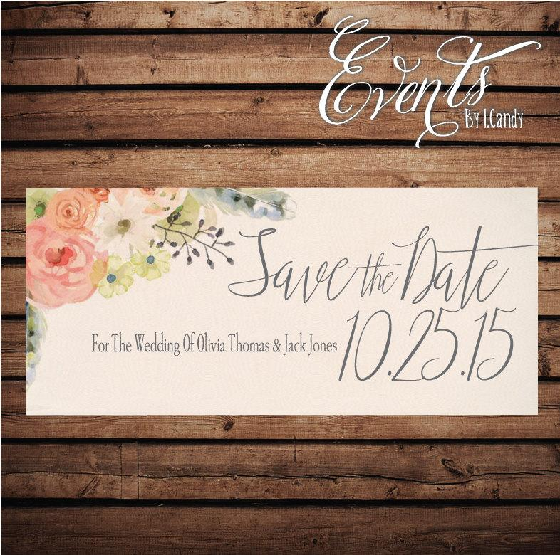Hochzeit - Wedding Save-the-Date Printed Postcard - floral with peach