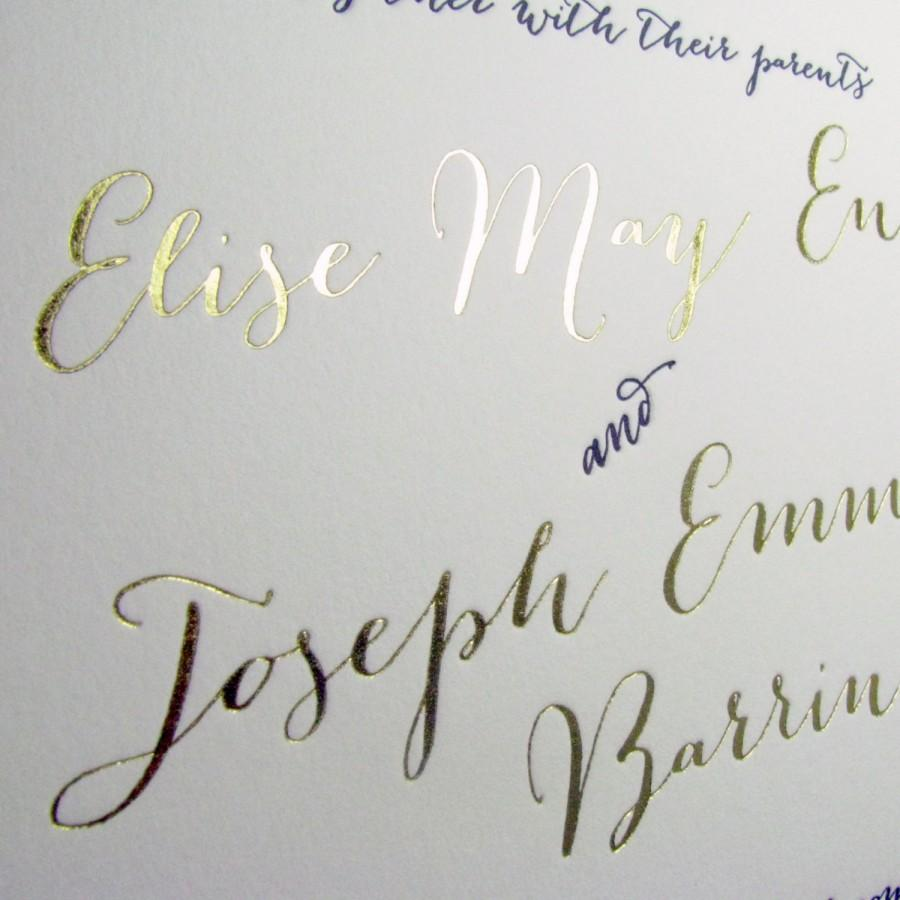 Hochzeit - Modern Calligraphy Gold Printing Wedding Invitations