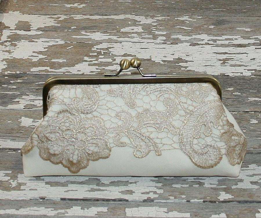 Mariage - Champagne Lace on Ivory Linen Bridesmaid Clutches/ Lace Wedding Clutches/ Bridal Clutch / Wedding Gift /Mother of the Groom Gift