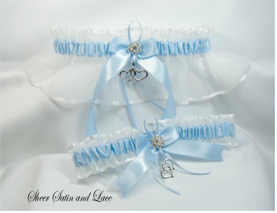 Wedding - DOUBLE HEART Wedding garters Light BLUE Garter set