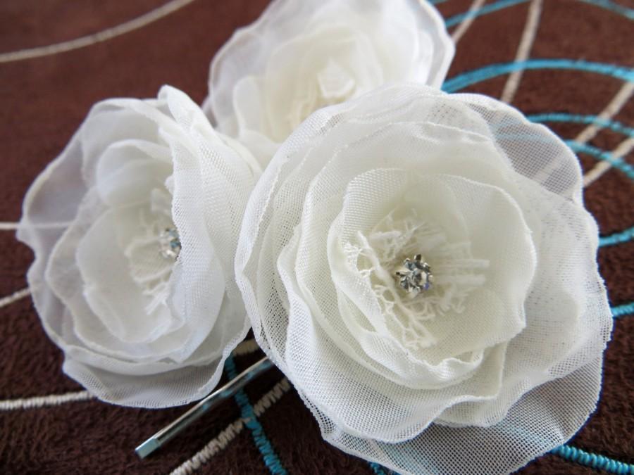 Wedding - Ivory wedding bridal flower hair clips (3 pcs), bridal hair accessory, bridal clips, wedding accessories, bridal hair piece, READY TO SHIP