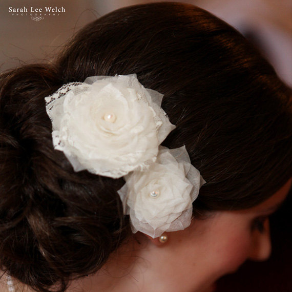 زفاف - Lace Wedding Head Piece, Flower Bridal Head Piece, Wedding Hair Piece Wedding Hair Accessory Ivory Wedding Hair Flowers Freshwater Pearl