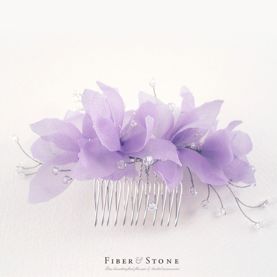 زفاف - Purple Silk Bridal Headpiece, Lavender Wedding Headpiece, Purple Bridal Flower Comb, Bridal Hair Piece, Wedding Hair Accessory, Swarovski