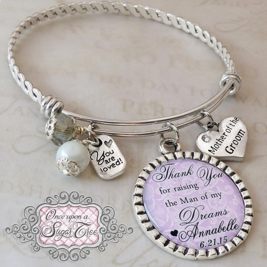 Mother Of The Groom Gift Wedding Bracelet Thank You For Raising Man My Dream Personalized Bangle Pa