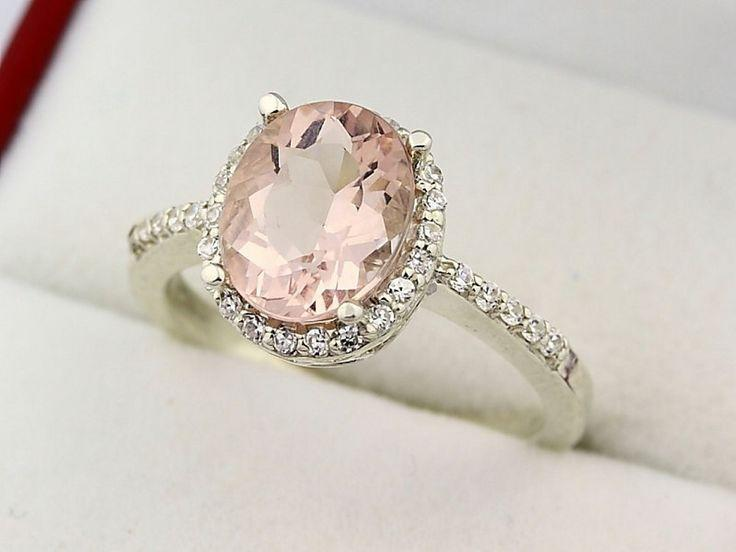 Свадьба - Natural Morganite Solid 14K White Gold Diamond Engagement Ring