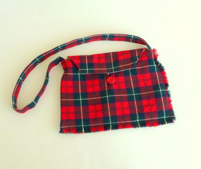 Свадьба - Tartan Wool Purse - Scotland Kilt - Hand Made - Plaid - Red Navy - Celtic - Romantic - Shoulder Bag - Recycled - UNIQUE - OOAK