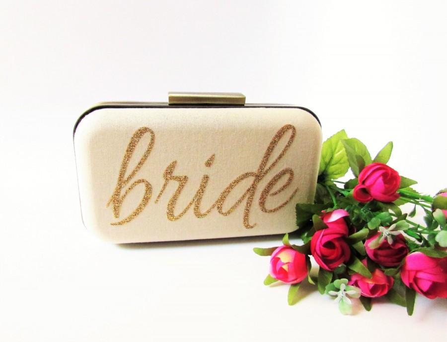 Mariage - wedding clutch bridal accessories gold clutch bride wedding clutches  bridesmaids clutches, bridal shower gifts wifey bride mrs brides