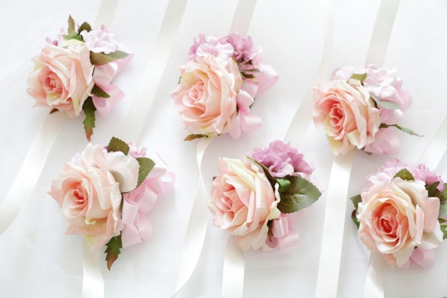 Mariage - Pink Rose Corsage, pale pink hydrangea boutonnieres / Wrist corsage Wrapped In Satin Ribbon Rustic Romantic Elegant bridesmaid