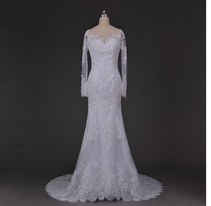 زفاف - Long Sleeves Chapel Train Lace Mermaid Wedding Dress