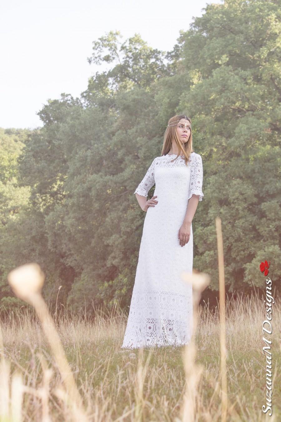 زفاف - Wedding Dress, Long Bridal Gown, 70s Bridal Dress, Bell Sleeve Dress, Long Sleeve Wedding Dress,Open Back Bridal Dress by SuzannaM Designs