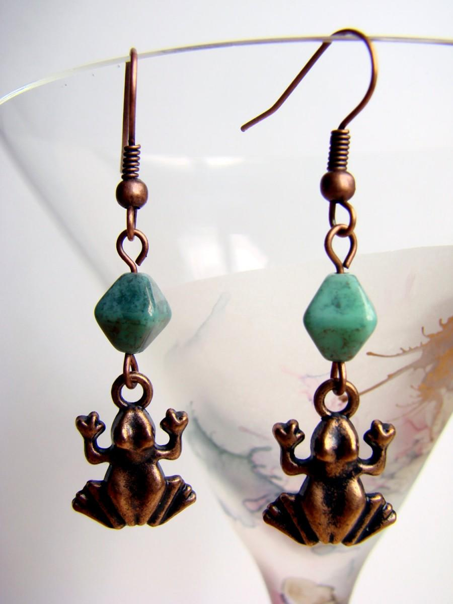 زفاف - Dangle Frog Earrings, Copper Tone Earrings with Turquoise Glass Beads, Summer Earrings