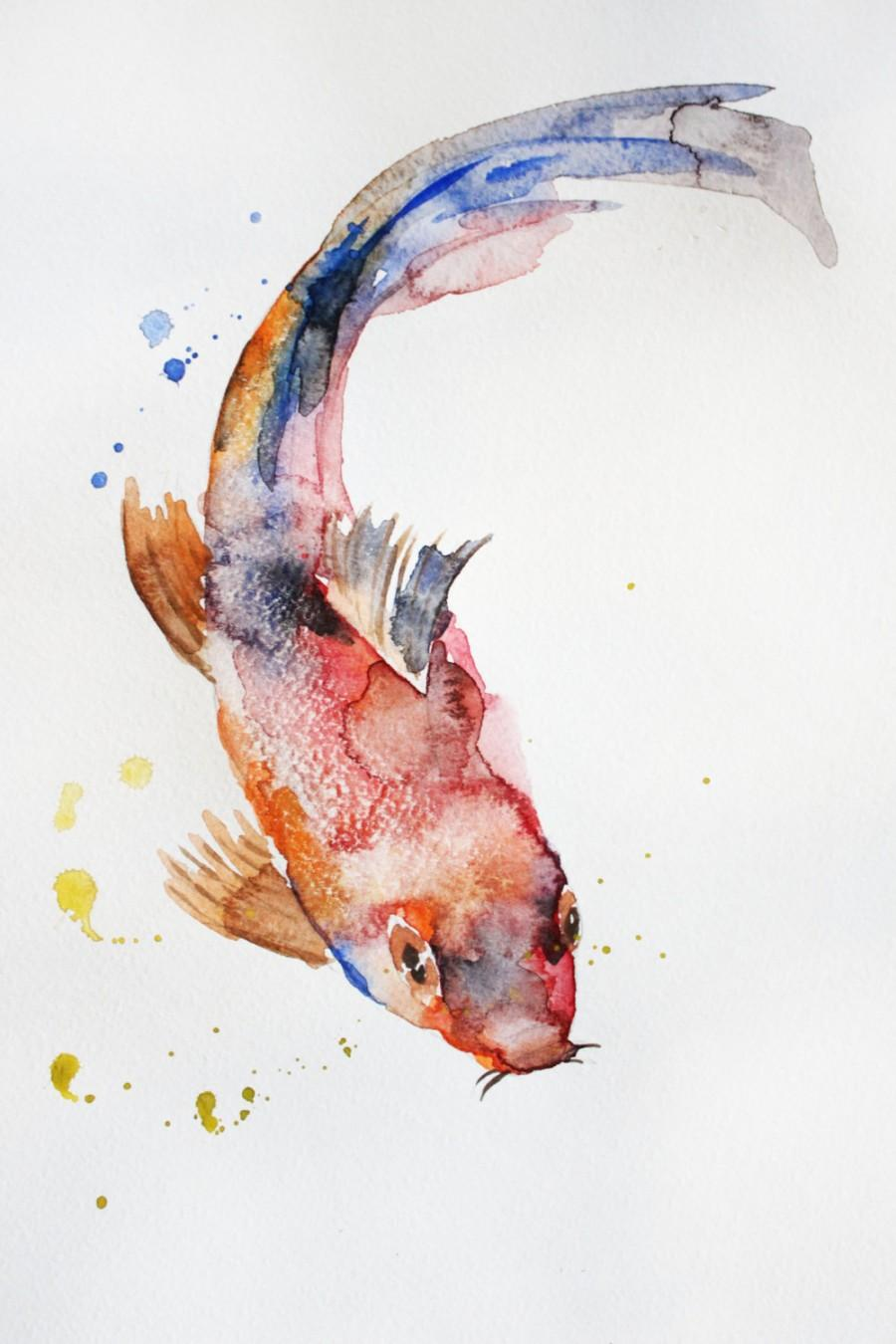 Original watercolor painting koi fish gold fish sea for Coy fish painting