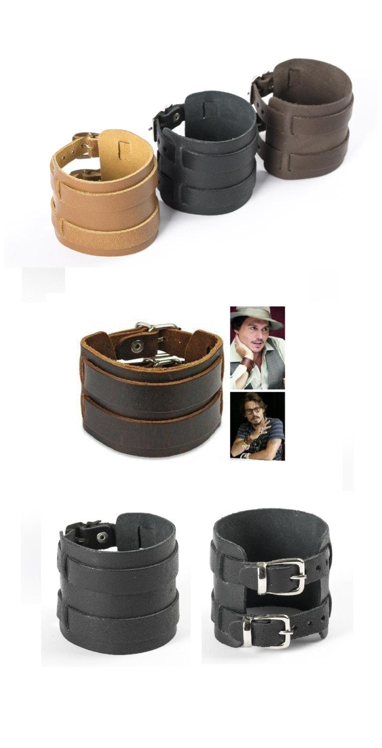 Men's Bracelet 100% Genuine Leather Cuff Wristband Leather Cuff Two Buckles  Multi Strand Cuff Bohemian Jewelry Men Arm Cuff Black Or Brown