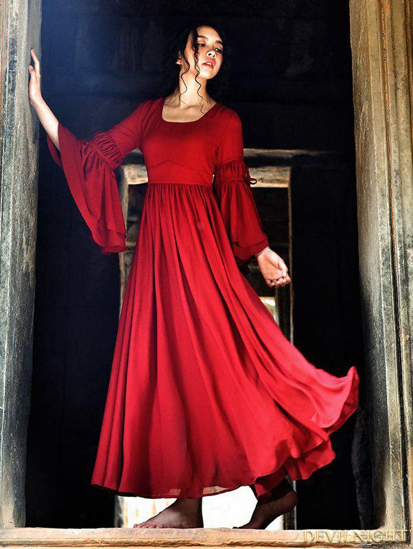 Mariage - Summer Red Chiffon Trumpet Sleeves Medieval Inspired Dress