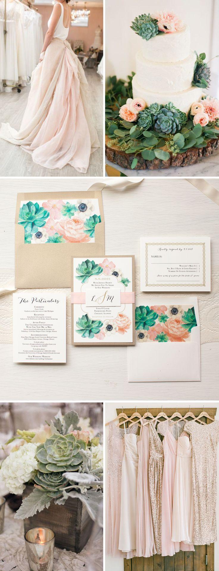 Hochzeit - Blush Succulent Anemone Wedding Invitations