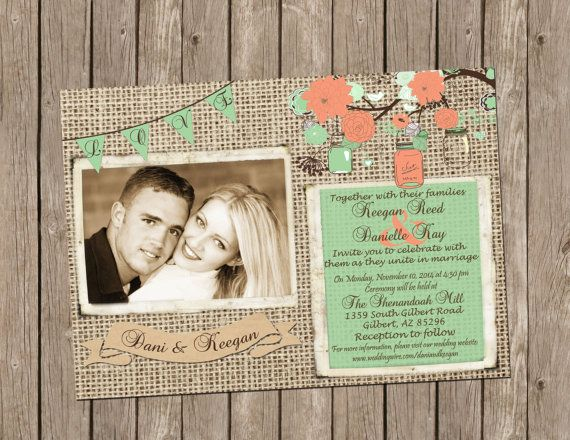 Свадьба - Burlap Wedding Invitation In Mint And Coral With Tree Branches, Mason Jars And String Of Lights - Printable 5x7
