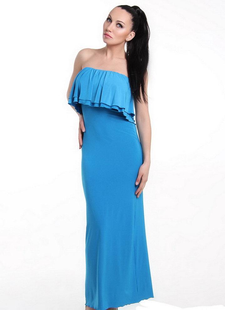 زفاف - Turquoise Evening Maxi Dress Bodycon Dress Open Shoulders Bridesmaid Dress Floor Length Sexy Blue Dress With Ruffles.