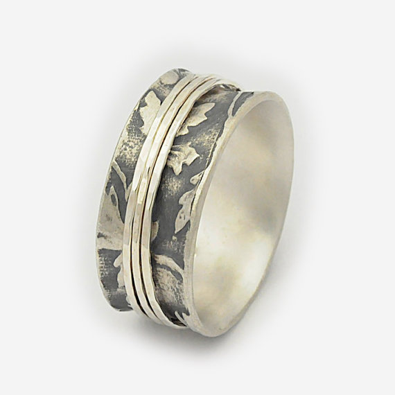 Organic Leaf Spinning Ring Nature Spinner Ring Silver Spin Rings