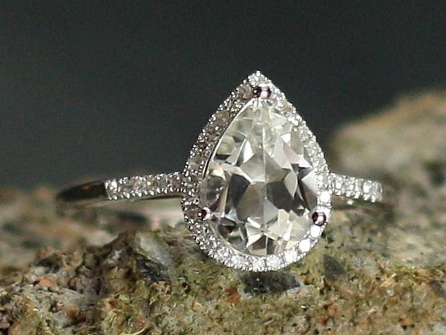white sapphire engagement ring halo pear drop
