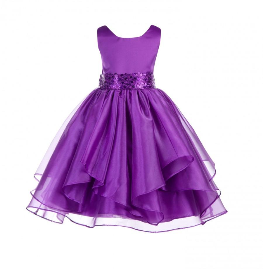زفاف - Wedding Asymmetric Ruffles Satin Organza purple Flower girl dress sequin sash bridesmaid pageant formal clothing baby sizes 4 6 8 10 12 #012