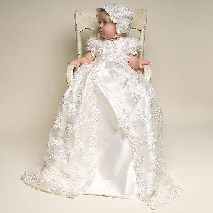 Lace Long Baptism Gown Ivory White Long Christening Gown Baby ...