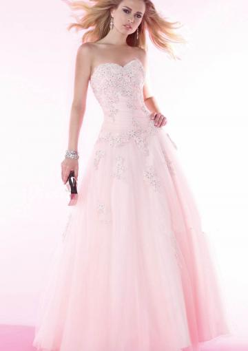 Mariage - Sweetheart Pink Lace Up Appliques Beading Sleeveless Floor Length Ball Gown