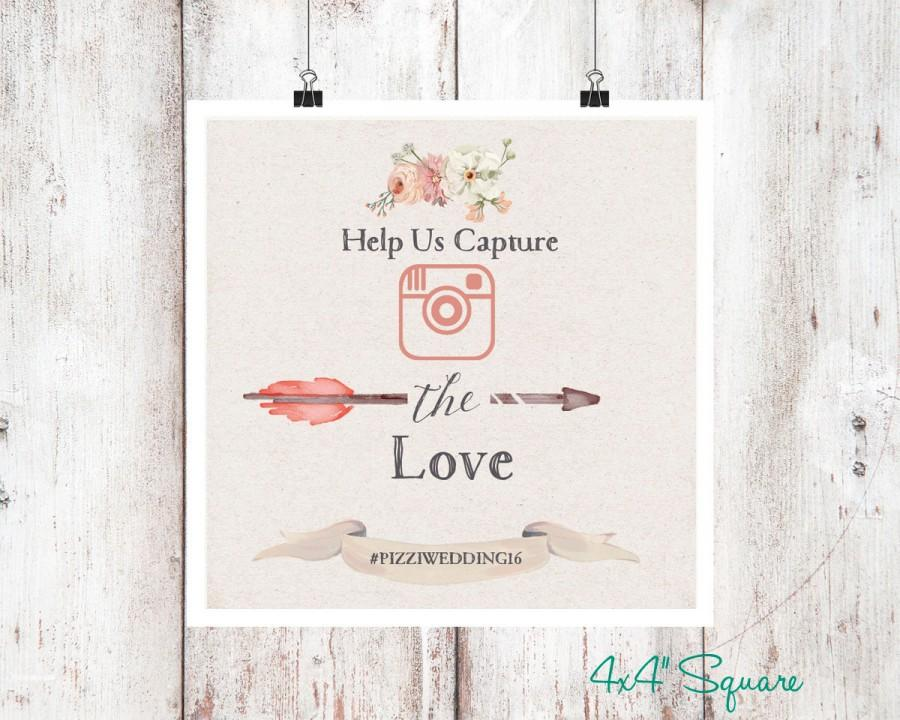 Wedding - Bohemian Instagram Wedding Sign // Instagram sign // Printable Wedding sign // Blush Pinks