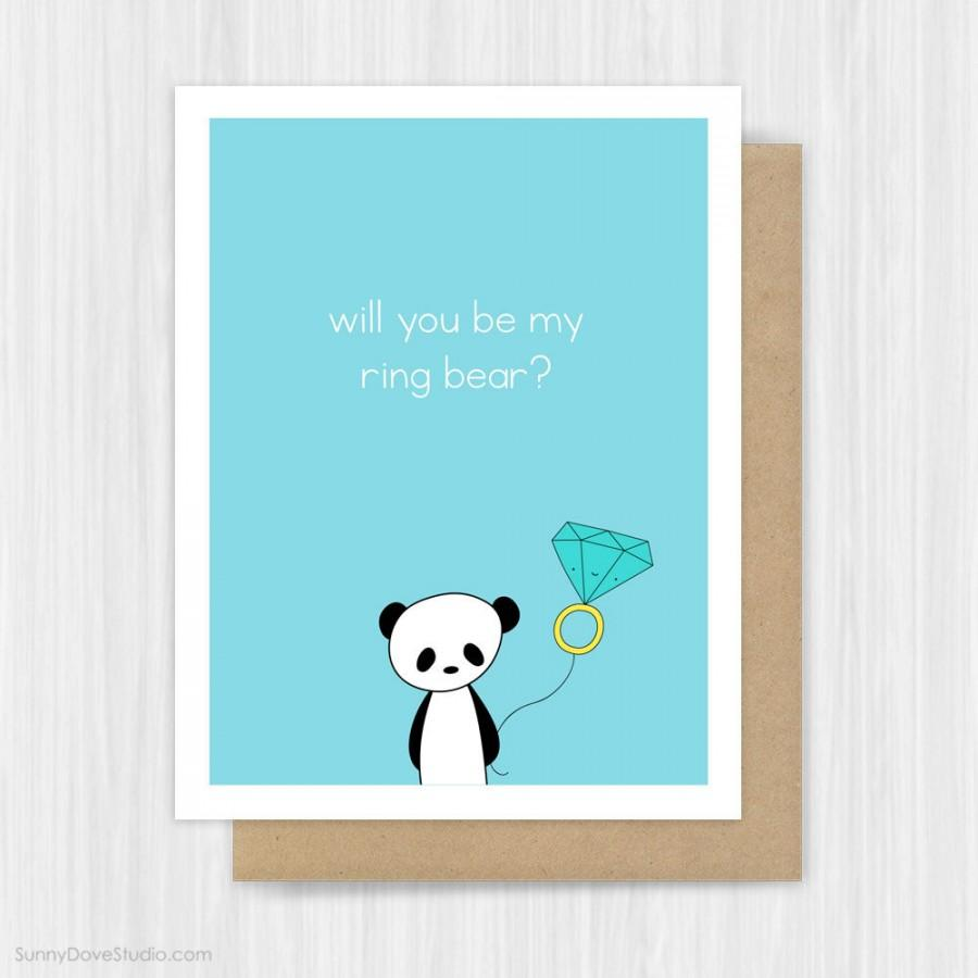 Mariage - Will You Be My Ring Bearer Card Funny Pun Panda Ring Bear Proposal Cards Cute Sweet Fun Bridal Party Handmade Greeting For Boy Girl Child