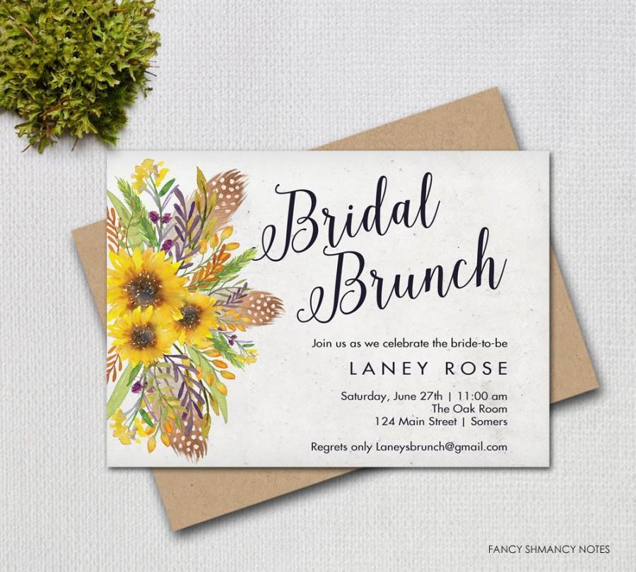 زفاف - Bridal Brunch  Invitation / Sunflower Floral Script Invitation / PRINTABLE INVITATION / #8491