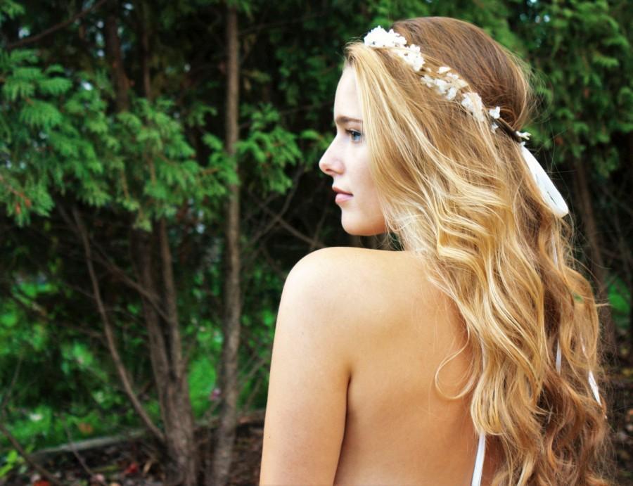 Свадьба - wedding accessories, bridal headpiece, wedding flower crown, ivory Flower crown, rustic head wreath, wedding headband, bridal hair