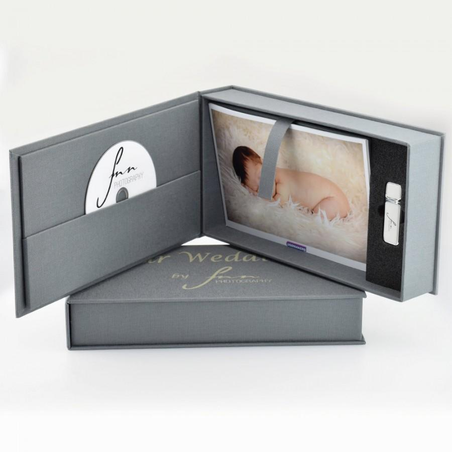 Mariage - 1 Hermes USB & Elegant  CD / DVD Photo Prints Gift Box - Branded with Your Personalised Logo