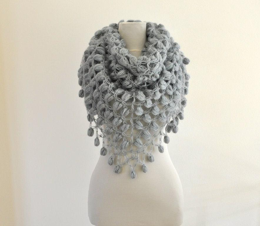 Mariage - Crochet Shawl Gray Bridal Shawl Wedding Stole Wrap Grey Smoke Silver Mohair