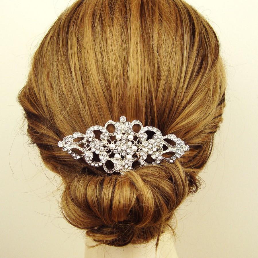Mariage - Victorian Style Bridal Hair Comb, Rhinestone & Pearl Wedding Bridal Comb, Vintage Wedding Hair Accessories, Crystal Hair Comb, BEATRICE