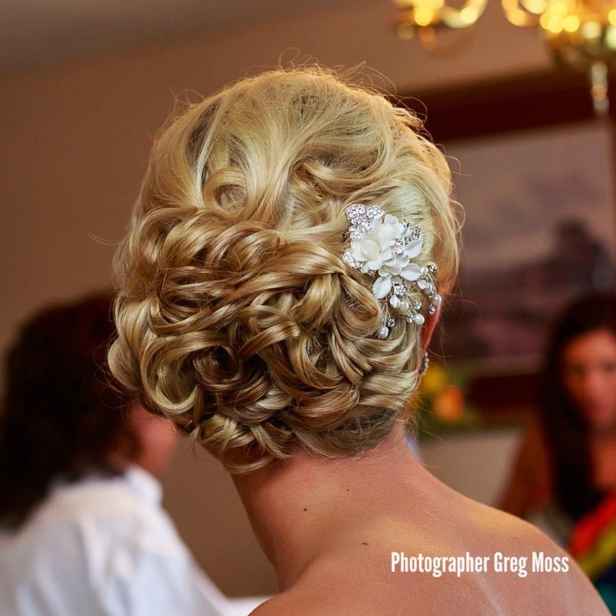 Mariage - Hannah Bridal Hair Comb,Floral jeweled hair comb,leaf and flower head piece, bride hair accessories, Rhinestone hair comb