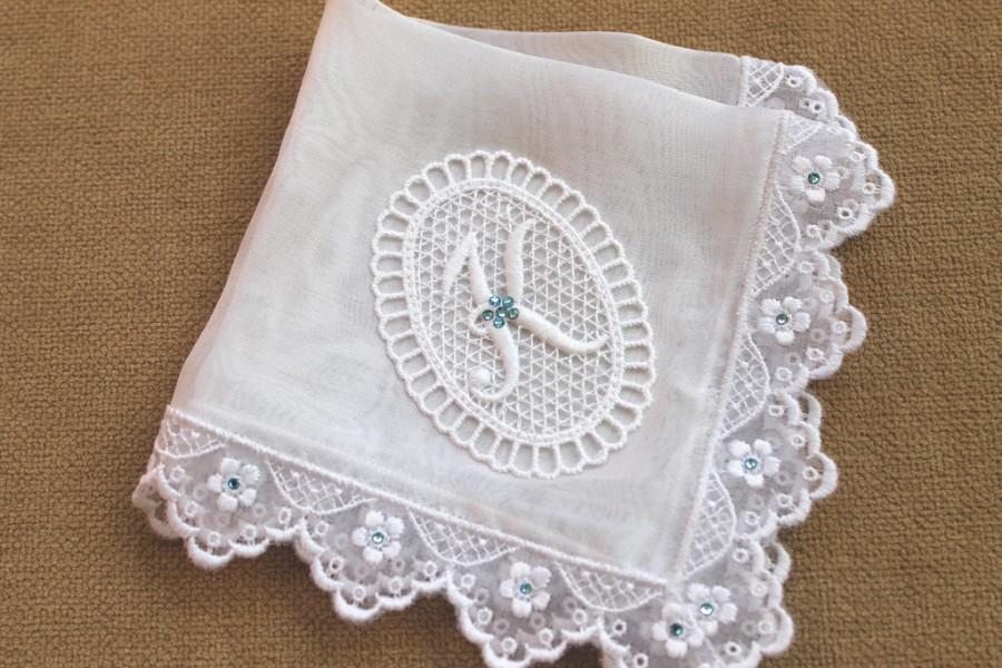 something blue bride wedding hanky bridal shower gift silk bridal handkerchief with embroidery lace swarovski crystals lace monogram