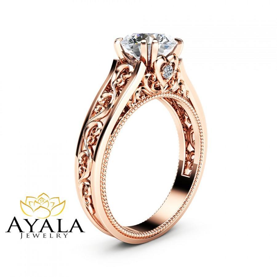 Rose Gold Moissanite Engagement Ring Milgrain Moissanite Ring Vintage Engagement  Ring