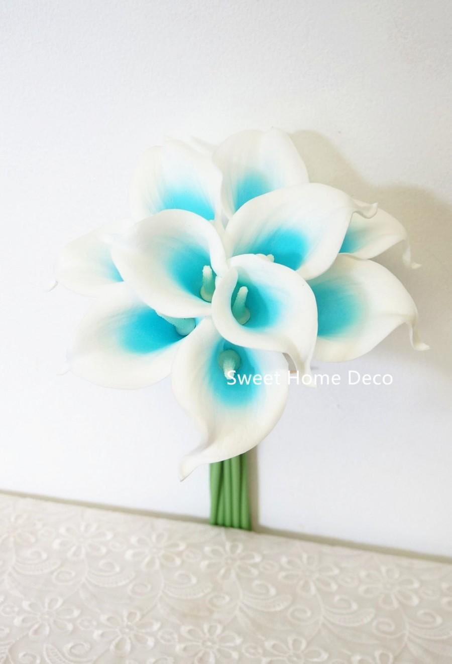 Jennysflowershop Latex Real Touch 15 Artificial Calla Lily 10 Stems
