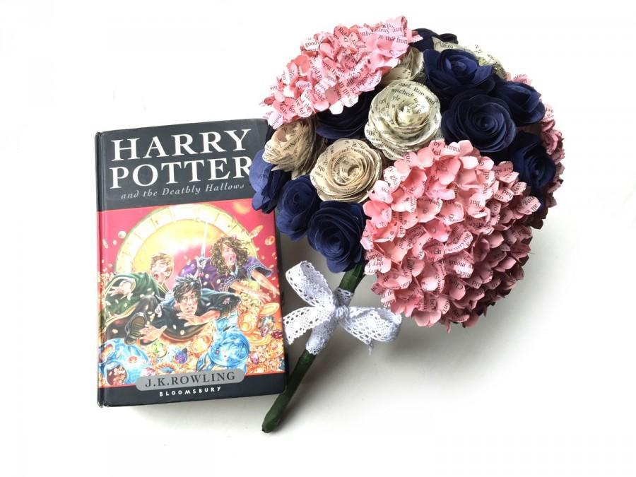 Mariage - Harry Potter Wedding Bouquet - Book Bouquet - Wedding Bouquet - Paper Bouquet - Paper Flowers Wedding - Paper Wedding Bouquet
