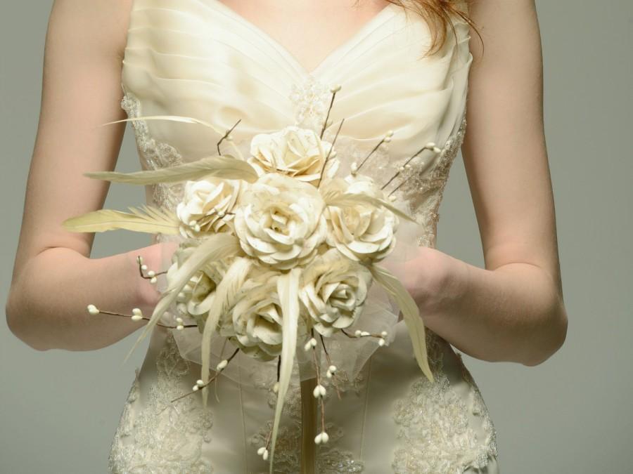 Hochzeit - Vintage Handwritten Paper Bridal Bouquet with Ivory Cream Feathers