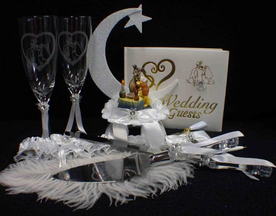 Wedding - Lady and The Tramp. Wedding LOT Cake Topper, Glasses, Knife set, Guest Book, Pen, Garter