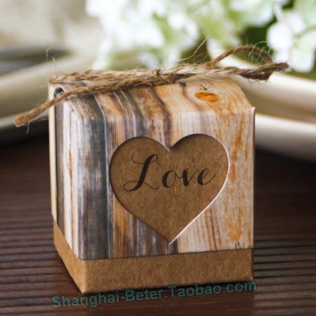 Wedding - Beter Gifts® creative wedding candy box bag packaging rope KRAFT DIY CANDY box HH043 toffee box