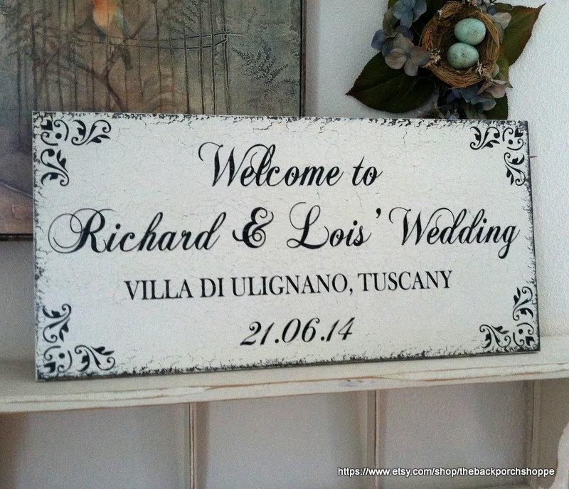 Wedding - Wedding Sign, WELCOME to OUR WEDDING, Bride and Groom Signs, Mr. and Mrs. Signs, 12 x 24