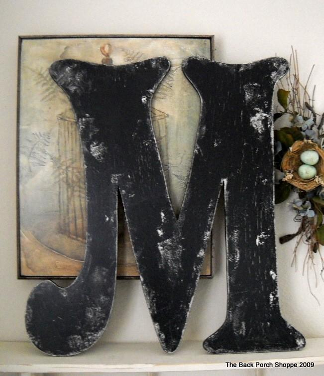 Wedding - BLACK LETTER M Vintage Style 2 ft tall Wood Cut Out Signs Shabby Cottage ANY Letter A - Z