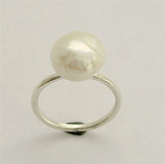 Mariage - Simple Silver Ring, sterling silver ring, white pearl ring, delicate ring, single pearl ring, fresh water pearl - Young love code - R1533