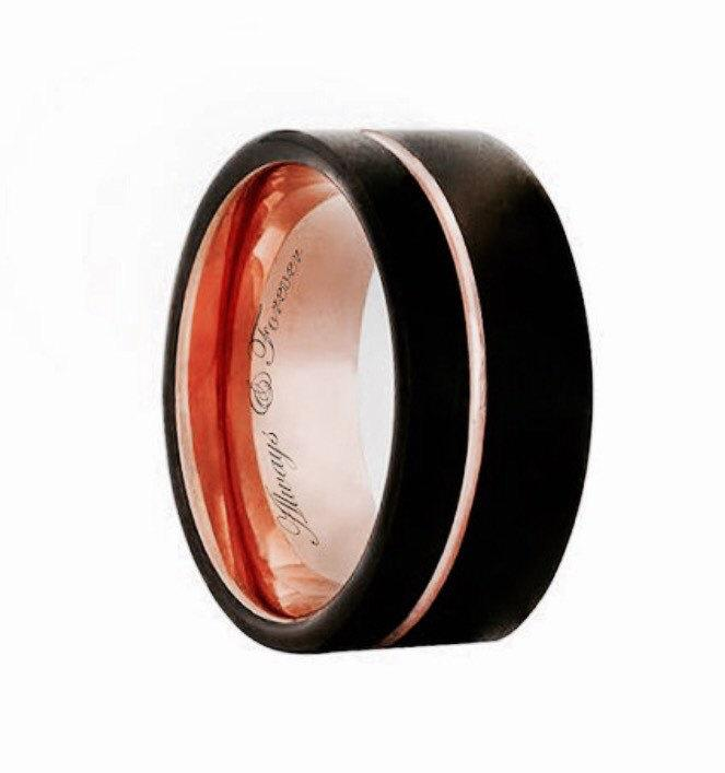 tungsten rose gold tungsten band tungsten mens ring mens rose gold band engagement rings black tungsten tungsten wedding band 12mm - Mens Rose Gold Wedding Rings