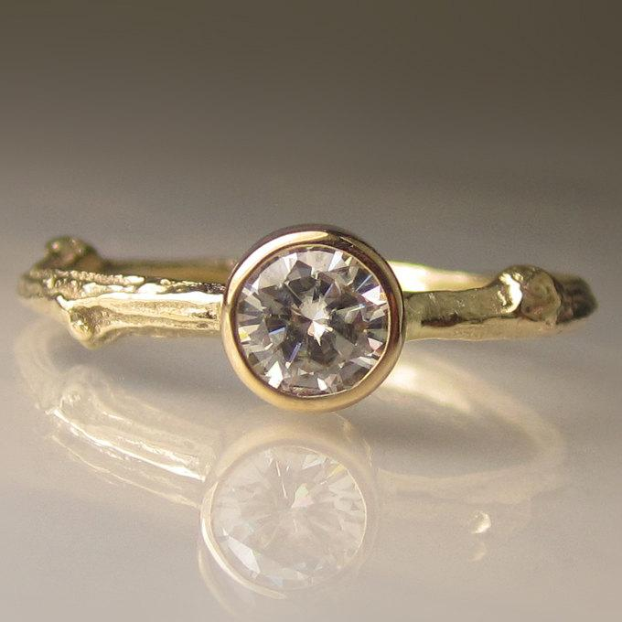 Mariage - Moissanite Twig Engagement Ring in 14k Yellow Gold, Gold Moissanite Engagement Ring